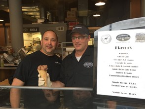 Owners Chuck Madonna and Jeff Steigerwald at the new ice cream counter at the Liehs & Steigerwalds shop near the corner of South Salina and East Fayette streets in downtown Syracuse. The shop serves Gannon's Ice Cream.