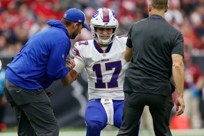 Josh Allen was injured in the third quarter against the Houston Texans and backup Nathan Peterman entered the game and threw two interceptions in the Buffalo Bills loss.