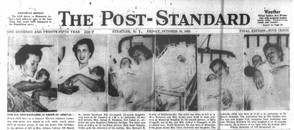 The front page of the Post-Standard on Oct. 16, 1953 featured six photos of new General Electric stockholders born that day in Syracuse.