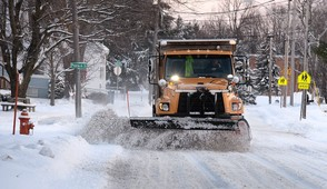 A snow plow clears S. Massey St. Watertown area hit with lake effect blast of winter weather, December 8, 2017. Michael Greenlar | mgreenlar@syracuse.com