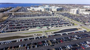 An aerial view of Destiny USA during Black Friday 2017 shopping.