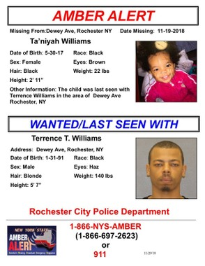 Terrence Williams, 27, is accused of abducting a Rochester 18-month-old, according to New York State police.