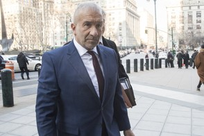 Alain Kaloyeros, the ex-president of the State University of New York's Polytechnic Institute, arrives for his sentencing at Manhattan Federal court, Tuesday, Dec. 11, 2018, in New York. Kaloyeros, who led the Polytechnic Institute until he resigned in October 2016, was convicted in July of conspiracy and wire fraud after prosecutors presented evidence that the bidding process for a state project was rigged to benefit a Buffalo developer and a Syracuse development company. (AP Photo/Mary Altaffer)