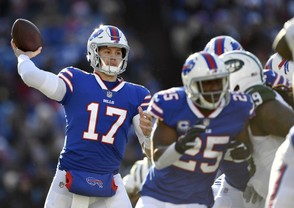 Buffalo Bills quarterback Josh Allen passes against the New York Jets during the first half of an NFL football game, Sunday, Dec. 9, 2018, in Orchard Park, N.Y.