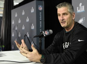 Offensive coordinator Frank Reich of the Philadelphia Eagles speaks to the media during Super Bowl LII media availability on January 31, 2018 at Mall of America in Bloomington, Minnesota. The Philadelphia Eagles will face the New England Patriots in Super Bowl LII on February 4th. (Hannah Foslien | Getty Images)