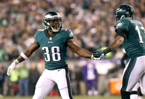 Eagles RB Kenjon Barner (38) and Eagles WR Alshon Jeffery (17) celebrate a touchdown by Eagles WR Torrey Smith (82) during the third quarter of the NFC Championship Game at Lincoln Financial Field, Sunday, Jan. 21, 2018. SJN