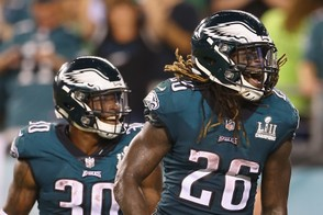 Jay Ajayi #26 of the Philadelphia Eagles reacts during the second half against the Atlanta Falcons at Lincoln Financial Field on September 6, 2018 in Philadelphia, Pennsylvania. (Photo by Mitchell Leff | Getty Images)