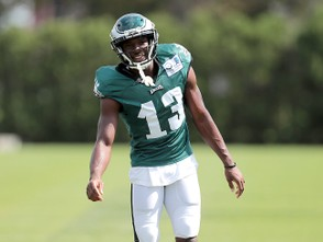 Eagles WR Nelson Agholor (13) smiles during practice at the NovaCare Complex in Philadelphia, Wednesday, Sept, 19, 2018. The Eagles host the Colts on Sunday. (Tim Hawk | For NJ.com)