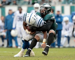 Eagles DE Derek Barnett (96) tackles Colts RB Nyheim Hines (21) in the third quarter at Lincoln Financial Field in Philadelphia, Sunday, Sept. 23, 2018. (Tim Hawk | For NJ.com)