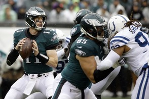 Philadelphia Eagles' Carson Wentz looks to pass during the first half of an NFL football game against the Indianapolis Colts, Sunday, Sept. 23, 2018, in Philadelphia. (AP Photo/Matt Rourke) AP