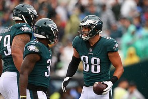 PHILADELPHIA, PA - SEPTEMBER 23: Tight end Dallas Goedert #88 of the Philadelphia Eagles celebrates a catch for a touchdown against the Indianapolis Colts in the first quarter at Lincoln Financial Field on September 23, 2018 in Philadelphia, Pennsylvania. (Photo by Mitchell Leff/Getty Images) Getty Images