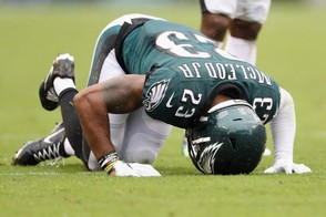 Defensive back Rodney McLeod #23 of the Philadelphia Eagles reacts after being injured while playing against the Indianapolis Colts during the third quarter at Lincoln Financial Field on September 23, 2018 in Philadelphia, Pennsylvania. (Elsa   Getty Images)