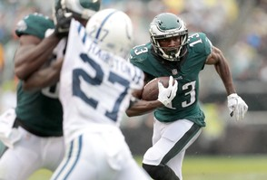 Eagles WR Nelson Agholor (13) runs after making a catch in the third quarter at Lincoln Financial Field in Philadelphia, Sunday, Sept. 23, 2018. Tim Hawk | For NJ.com