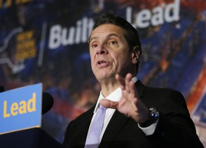 In this Jan. 16, 2016 photo, New York Gov. Andrew Cuomo speaks during a news conference at Madison Square Garden in New York. On Saturday, Feb. 6, 2016, Cuomo announced that New York is taking steps to stop therapists from trying to change young people's sexual orientation. The state is joining a number of states that have acted against what's known as gay conversion therapy.