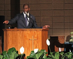 Mayor Andrew Gillum held a faith-based recount rally inside New Mount Olive Baptist Church in Fort Lauderdale, Fla., on Sunday, Nov. 11, 2018. (Carl Juste/Miami Herald via AP)