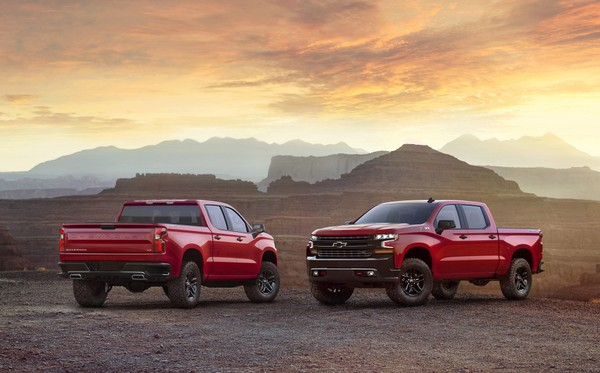 This photo provided by General Motors Co. shows the 2019 Chevrolet Silverado. GM is showing of the all-new version of the Chevrolet Silverado pickup at an event in Dallas, Saturday, Dec. 16, 2017.