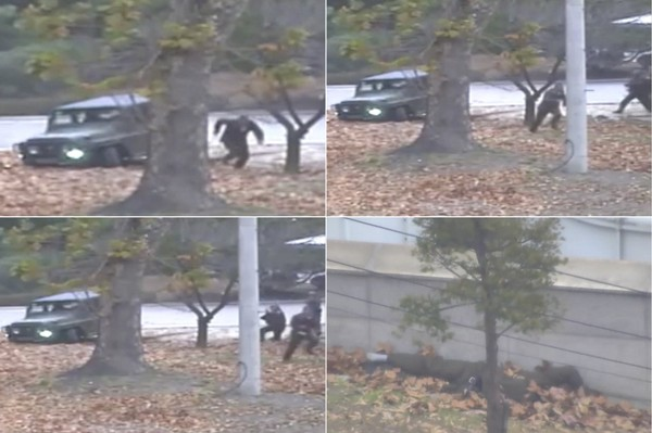 This combination of images made from Nov. 13, 2017, surveillance video released by the United Nations Command shows a North Korean soldier running from a jeep and then shot by North Korean soldiers in Panmunjom, North Korea, before collapsing across the border in South Korea.