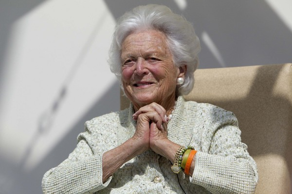 """In this Thursday, Aug. 22, 2013 file photo, Barbara Bush listens to a patient's question during a visit to the Barbara Bush Children's Hospital at Maine Medical Center in Portland, Maine. The 92-year-old former First Lady is foregoing medical care in favor of """"comfort care"""" at home."""