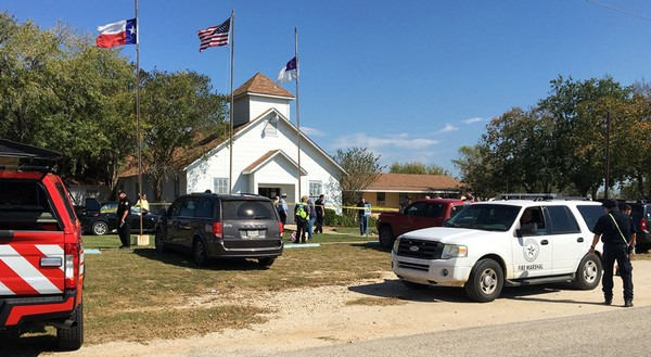 Emergency personnel respond to the fatal shooting at a Baptist church in Sutherland Springs, Texas, on Sunday, November 5, 2017. (Photo credit: KSAT via AP)