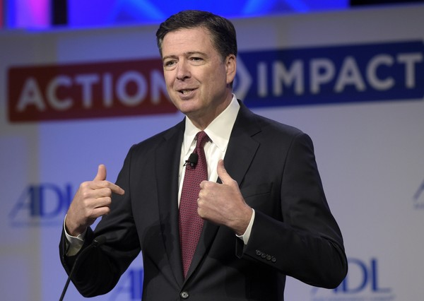 In this May 8, 2017, photo, then-FBI Director James Comey speaks to the Anti-Defamation League National Leadership Summit in Washington. (AP Photo/Susan Walsh, File)