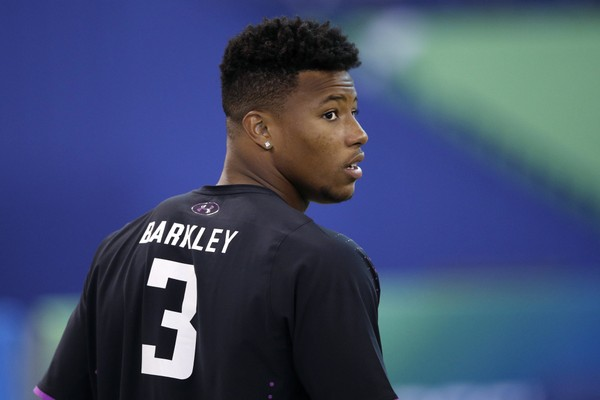 Penn State running back Saquon Barkley looks on during the 2018 NFL Combine at Lucas Oil Stadium on March 2, 2018 in Indianapolis, Indiana. (Joe Robbins/Getty Images)