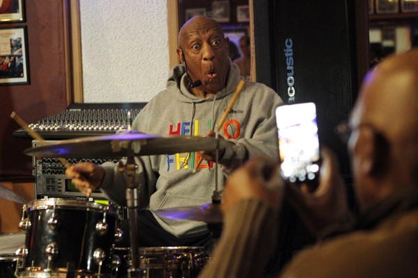 Bill Cosby plays the drums at the LaRose Jazz Club in Philadelphia on Monday, Jan. 22, 2018. It was his first public performance since his last tour ended amid protests in May 2015. (AP Photo/Michael R. Sisak)