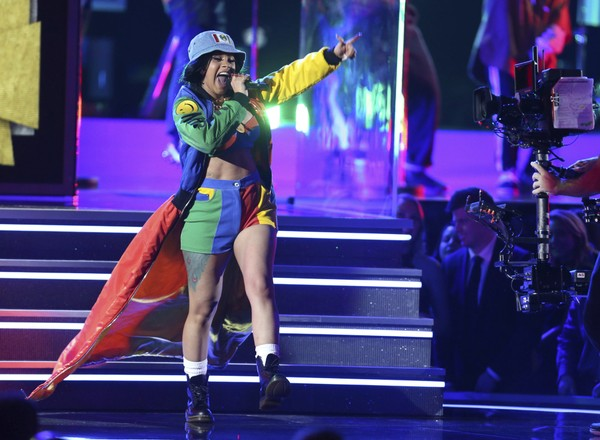 """Cardi B performs """"Finesse"""" at the 60th annual Grammy Awards at Madison Square Garden on Sunday, Jan. 28, 2018, in New York."""