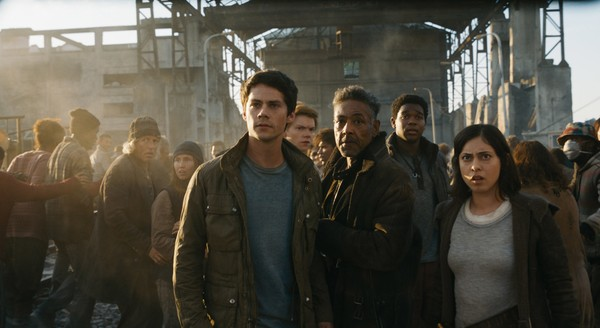 "This undated image released by Twentieth Century Fox shows, foreground from left, Dylan O'Brien, Giancarlo Esposito and Rosa Salazar in a scene from ""Maze Runner: The Death Cure."" (Twentieth Century Fox via AP, File)"