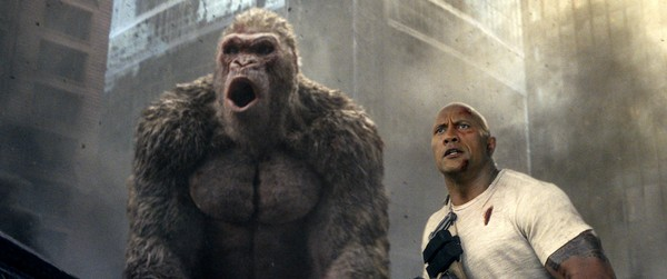 "This image shows Dwayne Johnson in a scene from ""Rampage.""  (Warner Bros. via AP)"