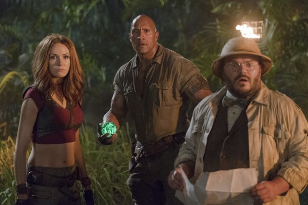 "This image released by Sony Pictures shows Karen Gillan, from left, Dwayne Johnson and Jack Black in ""Jumanji: Welcome to the Jungle."" (Frank Masi/Sony Pictures via AP)"