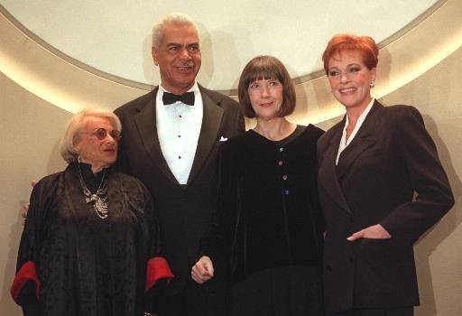 From left, actors Florence Klotz, Earle Hyman, Eileen Atkins and Julie Andrews pose before their induction to the Theater Hall of Fame at the Gershwin Theatre in New York Monday, Feb. 3, 1997.