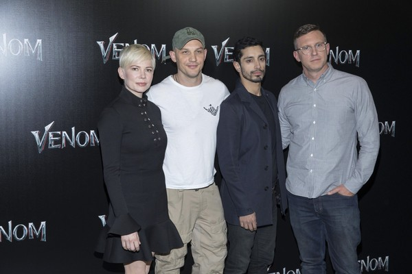 Michelle Williams, left, Tom Hardy, Riz Ahmed and Ruben Fleischer attend CinemaCon at The Colosseum at Caesars, Monday April 23, 2018, in Las Vegas. (Photo by Eric Jamison/Invision/AP)