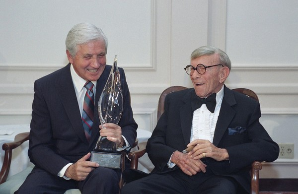 Monty Hall, left, recipient of the 2nd Annual George Burns Lifetime Award, laughs with George Burns at the United Jewish Fund tribute to humanitarian Hall, in the Century City section of Los Angeles on March 14, 1993.