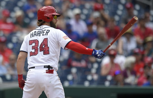 Washington Nationals' Bryce Harper bats during a baseball game against the New York Mets, Tuesday, July 4, 2017, in Washington.