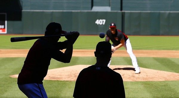Arizona Diamondbacks work on infield drills during practice at Chase Field as the team gets ready for a National League wild card playoff baseball game Monday, Oct. 2, 2017, in Phoenix. The Diamondbacks face the Colorado Rockies on Wednesday. (AP Photo/Ross D. Franklin)