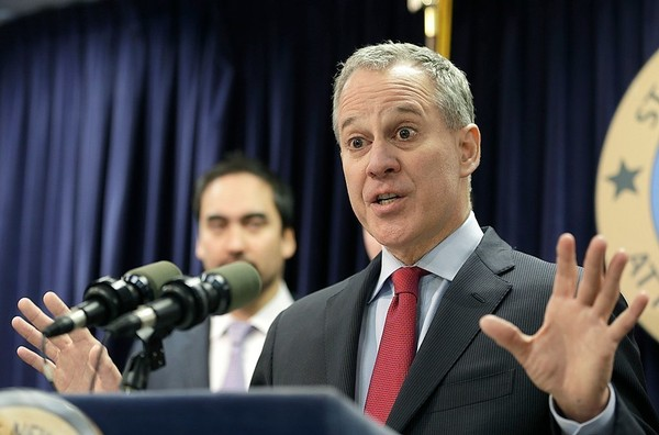 Former New York Attorney General Eric Schneiderman speaks during a news conference in New York in a file photo.