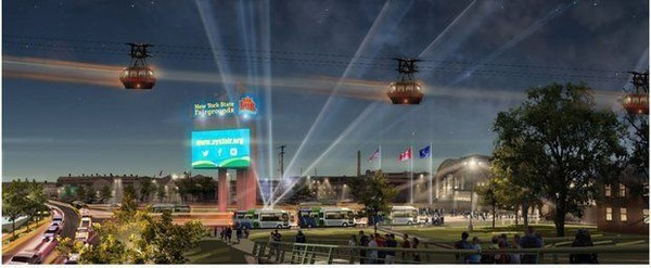 """Gov. Andrew Cuomo on Monday announced the cost and specifications of his proposal to bring a 0.7-mile gondola to the New York State Fair and Onondaga Lakeview Amphitheater. He joked that the above rendering is misleading, """"They're not really moving so fast that they leave a blur of light like that,"""" he said."""