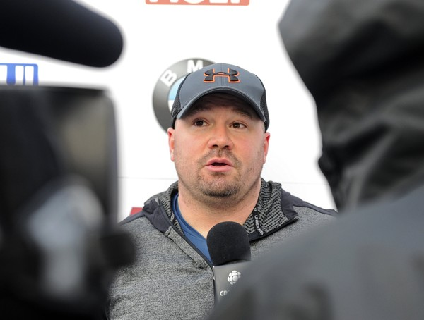 FILE - In this Friday, Dec. 16, 2016 file photo, driver Steven Holcomb, of the United States, talks with reporters in the finish area after winning the mens two-man bobsled World Cup race in Lake Placid, N.Y. Olympic bobsledding champion Steven Holcomb had prescription sleeping pills and alcohol in his system when he was found dead last month, according to toxicology report provided to his family and USA Bobsled and Skeleton.