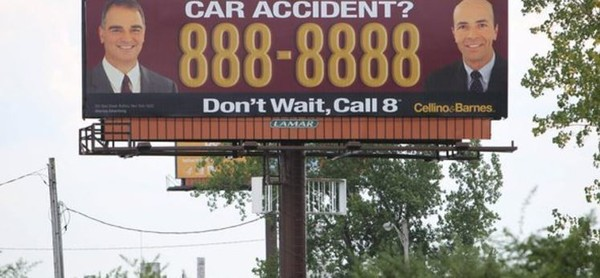 A billboard ad for the Cellino & Barnes injury firm.