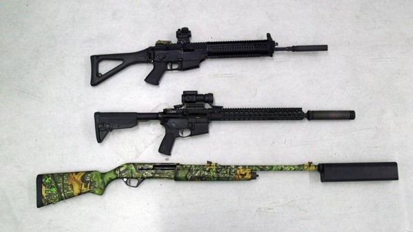 A bill in Congress would roll back an 80-year-old federal law that restricts the sale of gun silencers. The law requires a nine-month vetting process and $200 tax. The House bill is supported by the NRA, where firearms with silencers are shown on the floor at a gun range at the group's headquarters, in Fairfax, Va., on March 20, 2017. (Ali Rizvi/McClatchy/TNS)(Ali Rizvi)