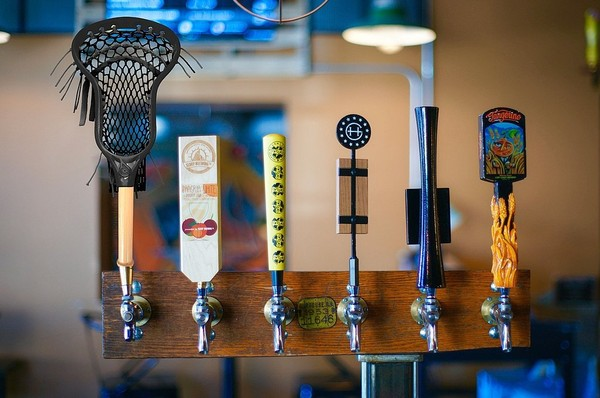 Lacrosse Stick Lager, at far left, is on tap this week at Ironwood Pizza in Manlius, N.Y. It was brewed in a collaboration between former Syracuse lacrosse star Ryan Powell and Widmer Brothers Brewery in Oregon.