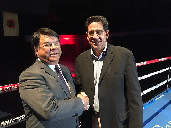 Ray Halbritter, left, the Oneida Nation representative and CEO of Oneida Nation Enterprises, and Ed Brophy of the International Boxing Hall of Fame announced plans for a new partnership between the Oneidas' Turning Stone Casino in Verona and the Hall of Fame in nearby Canastota.