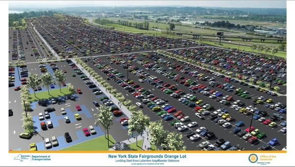 This rendering provided by Gov. Andrew Cuomo's office shows the vision for the Orange Lot at the New York State Fair grounds, expected to be built by August 2018. Paving the lot and adding flood drainage features is part of the $27 million in construction aimed at easing traffic woes at fair and Onondaga Lakeview Ampitheater events.