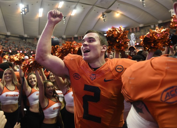 Syracuse quarterback Eric Dungey (2) after the Orange win over Clemson on Friday, Oct. 13, 2017, at the Carrier Dome.