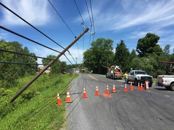 In this 2016 file photo, wires in the Oneida County town of Kirkland were pulled down by falling tree branches. The National Weather Service says damaging winds are possible tonight.