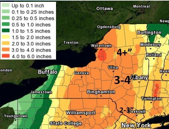 Three to 4 inches of rain could fall across Upstate New York into Monday.