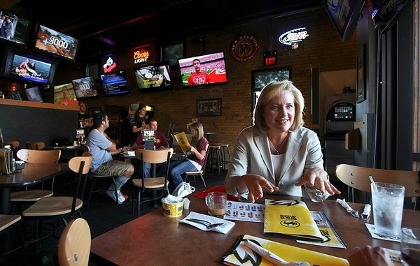 Sally Smith, CEO of Buffalo Wild Wings, is photographed in one of the chain's restaurants in Minneapolis, Minnesota. The Auburn, NY restaurant is closing. David Joles/Minneapolis Star Tribune/MCT)