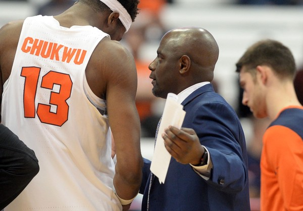 Syracuse assistant coach Allen Griffin talks to Syracuse center Paschal Chukwu (13) during an exhibition game against Southern New Hampshire on Wednesday, Nov. 1, 2017, at the Carrier Dome. Dennis Nett | dnett@syracuse.com