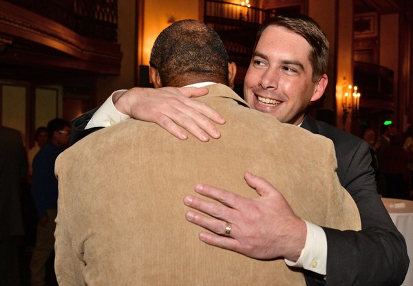 Ben Walsh hugs a supporter in the grand ballroom.  Ben Walsh's election night headquarters at the Marriott Syracuse Downtown' s Grand Ballroom, November 7, 2017.