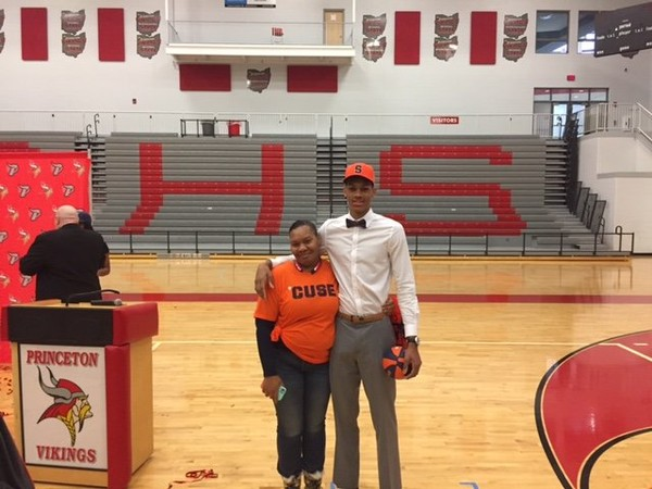 Syracuse University basketball recruit Darius Bazley poses with his mother, Lynitta Cowan, after signing his letter of intent during a ceremony at his high school on Wednesday. (Submitted photo)